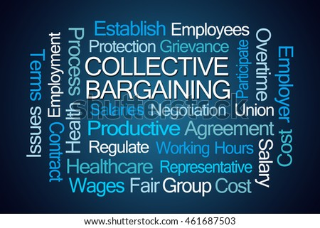 Collective Bargaining Word Cloud On Blue Stock Illustration