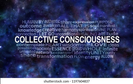 Collective Consciousness Word Tag Cloud -  dark blue starry deep space night sky background with a COLLECTIVE CONSCIOUSNESS word cloud