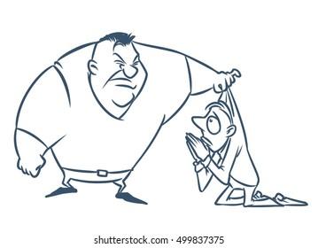 Collector loan debt cartoon contour illustration
