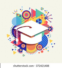 College graduation cap icon, school education concept design with colorful geometry element background.