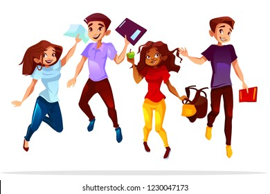 College or university students illustration of school boys and black Afro American girls jumping up happy smiling with books and bags for lesson break or graduation.