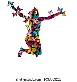Collorful illustration with silhouette of woman jumping and colored butterflies