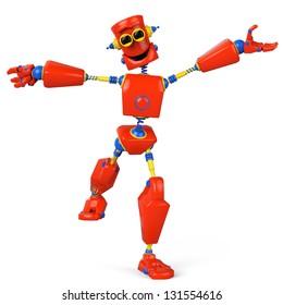 collorfull robot is super happy