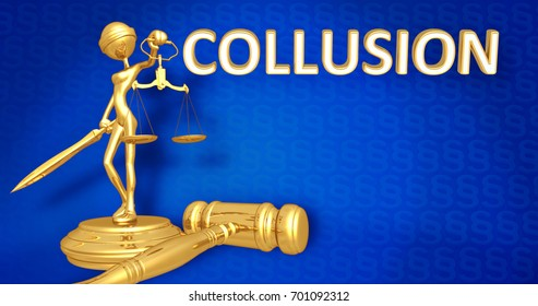 Collusion Law Concept Lady Justice The Original 3D Character Illustration