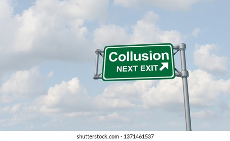 Collusion and obstruction antitrust conspiracy concept of justice concept and political influence or influencing the legal system for an unfair advantage with 3D illustration elements.