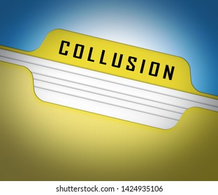 Collusion Report Folder Showing Russian Conspiracy Or Criminal Collaboration 3d Illustration. Secret Government Plotting With Foreign Players