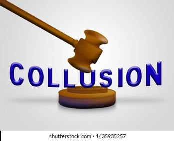 Collusion Report Gavel Showing Russian Conspiracy Or Criminal Collaboration 3d Illustration. Secret Government Plotting With Foreign Players