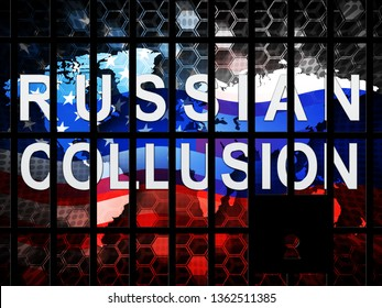 Collusion Report Jail Showing Russian Conspiracy Or Criminal Collaboration 3d Illustration. Secret Government Plotting With Foreign Players
