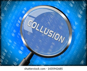 Collusion Report Magnifier Showing Russian Conspiracy Or Criminal Collaboration 3d Illustration. Secret Government Plotting With Foreign Players