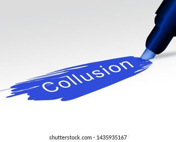Collusion Report Text Showing Russian Conspiracy Or Criminal Collaboration 3d Illustration. Secret Government Plotting With Foreign Players