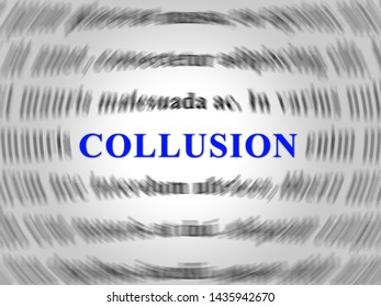 Collusion Report Word Showing Russian Conspiracy Or Criminal Collaboration 3d Illustration. Secret Government Plotting With Foreign Players