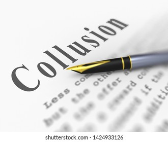 Collusion With Russia Memo Design Meaning Foreign Illegal Collaboration 3d Illustration. Colluding With Russian Entities To Deceive Government