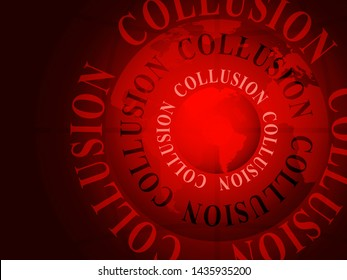 Collusion With Russia Plot Design Meaning Foreign Illegal Collaboration 3d Illustration. Colluding With Russian Entities To Deceive Government