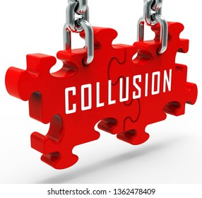 Collusion With Russia Plot Jigsaw Meaning Foreign Illegal Collaboration 3d Illustration. Colluding With Russian Entities To Deceive Government