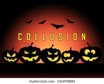 Collusion With Russia Pumpkins Design Meaning Foreign Illegal Collaboration 3d Illustration. Colluding With Russian Entities To Deceive Government