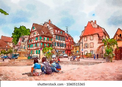 Colmar, France, watercolor style