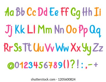 Coloful alphabet in sketchy style.  handwritten pencil letters, numbers and punctuation marks. Brush pen handwriting font.