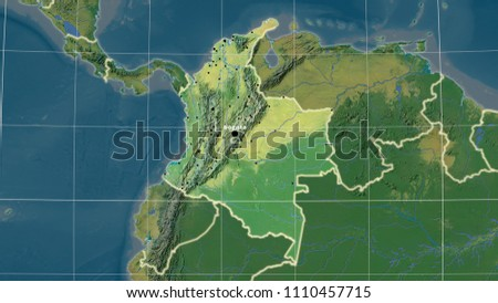 Topographic Map Of Colombia.Colombia Area Map Azimuthal Equidistant Projection Stock
