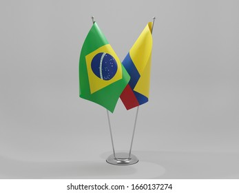 Colombia - Brazil Cooperation Flags, White Background - 3D Render