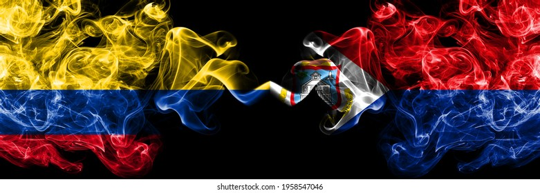Colombia, Colombian vs Netherlands, Dutch, Holland, Sint Maarten smoky mystic flags placed side by side. Thick colored silky abstract smokes flags.