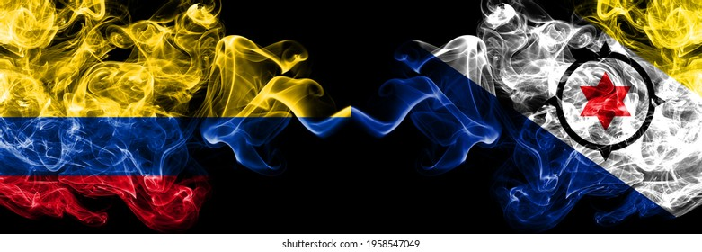 Colombia, Colombian vs Netherlands, Dutch, Holland, Bonaire smoky mystic flags placed side by side. Thick colored silky abstract smokes flags.