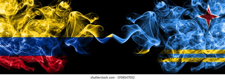 Colombia, Colombian vs Netherlands, Dutch, Holland, Aruba smoky mystic flags placed side by side. Thick colored silky abstract smokes flags.
