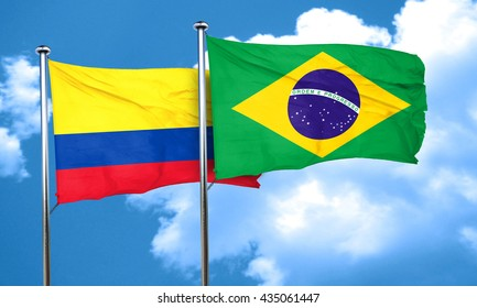 Colombia flag with Brazil flag, 3D rendering