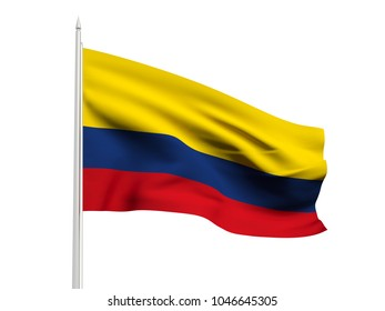 Colombia flag floating in the wind with a White sky background. 3D illustration.
