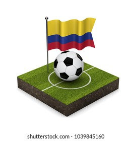 Colombia flag football concept. Flag, ball and soccer pitch isometric icon. 3D Rendering