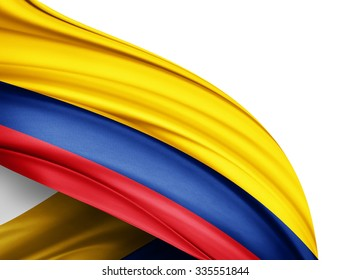Colombia   flag of silk with copyspace for your text or images and white background