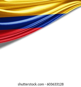Colombia flag of silk with copyspace for your text or images and white background-3D illustration
