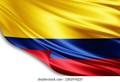 Colombia flag of silk-3D illustration