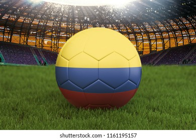 Colombia football team ball on big stadium background. Colombia Team competition concept. Colombia flag on ball team tournament in Russia. Sport competition on green grass background. 3d rendering