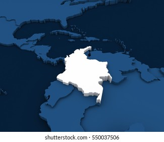 colombia map 3D illustration