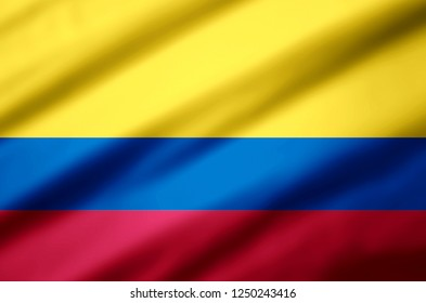 Colombia modern and realistic closeup 3D flag illustration. Perfect for background or texture purposes.
