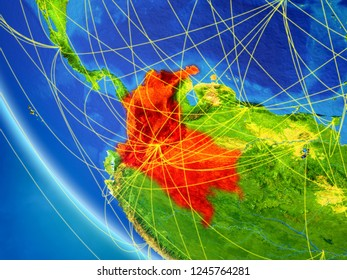 Colombia on planet Earth from space with network. Concept of international communication, technology and travel. 3D illustration. Elements of this image furnished by NASA.