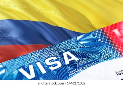 Colombia visa document close up, 3D rendering. Passport visa on Colombia flag. Colombia visitor visa in passport. Colombia multi entrance visa in passport. Close up of a document and passport