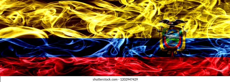 Colombia vs Ecuador, Ecuadorian smoke flags placed side by side. Thick colored silky smoke flags of Colombian and Ecuador, Ecuadorian