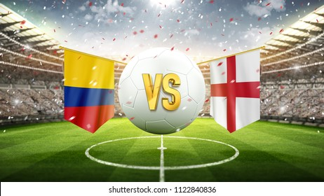 Colombia vs England. Soccer concept. White soccer ball with the flag in the stadium, 2018. 3d render