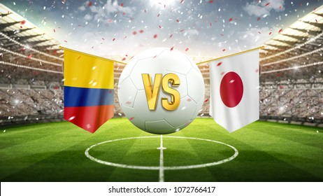 Colombia vs Japan. Soccer concept. White soccer ball with the flag in the stadium, 2018. 3d render