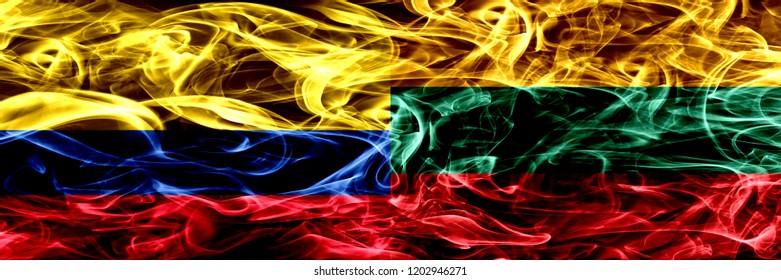 Colombia vs Lithuania, Lithuanian smoke flags placed side by side. Thick colored silky smoke flags of Colombian and Lithuania, Lithuanian
