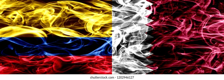 Colombia vs Qatar, Qatari smoke flags placed side by side. Thick colored silky smoke flags of Colombian and Qatar, Qatari