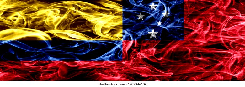 Colombia vs Samoa, Samoan smoke flags placed side by side. Thick colored silky smoke flags of Colombian and Samoa, Samoan
