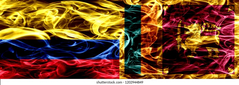 Colombia vs Sri Lanka, Sri Lankan smoke flags placed side by side. Thick colored silky smoke flags of Colombian and Sri Lanka, Sri Lankan