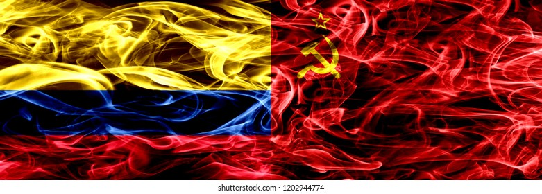 Colombia vs USSR, Communist smoke flags placed side by side. Thick colored silky smoke flags of Colombian and USSR, Communist