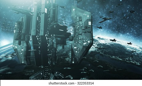 Colone of futuristic spaceships and an impressive space station. 3D rendering