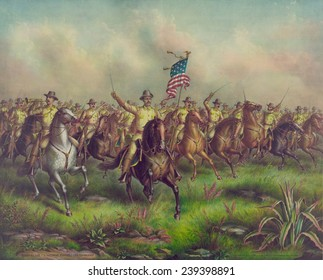 Colonel Theodore Roosevelt leads the 1st Volunteer Cavalry in the charge up San Juan Hill during the Spanish American War.