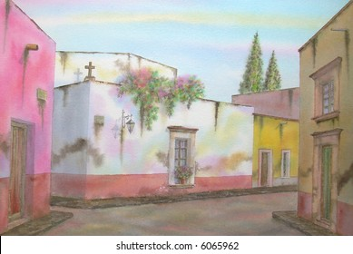 "Colonial Town of San Miguel Allende, Guanajuato, Mexico; 50x70 cms. = 20""x28"" # 96-005"