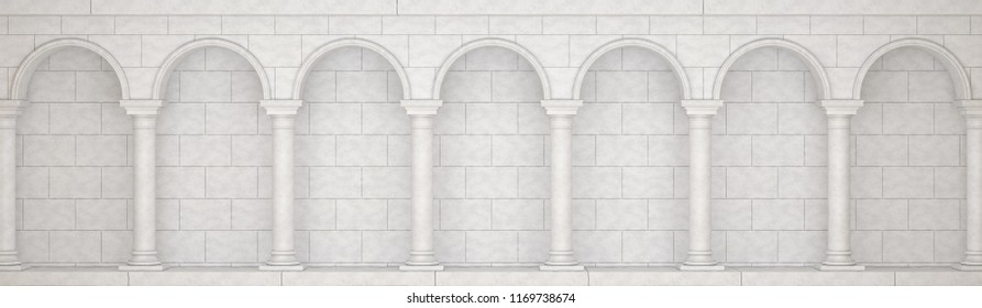 The colonnade in antique style is white. Colonnade in classic style.  Colonnade in antique style. Colonnade with arches. 3D Illustration