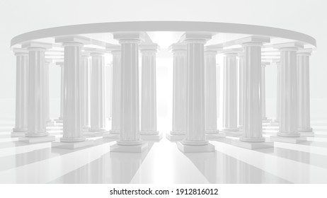Colonnade building in elliptical arrangement on an abstract white background. Round pillar structure with mystical lights and shadows. Modern architecture and ancient columns. 3d illustration.